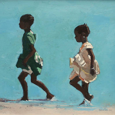 British Artist Patrick GIBBS - Girls in Green and Yellow, Zanzibar