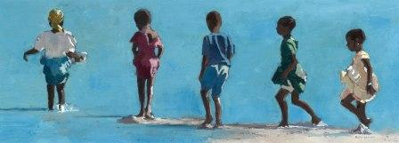 British Artist Patrick GIBBS - Children Walking into the Sea, Zanzibar