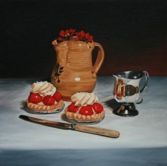British Artist Paul STONE - Composition with Strawberry Tarts