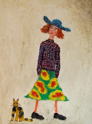 Paul ROBINSON - Woman in Blue Hat with Cat