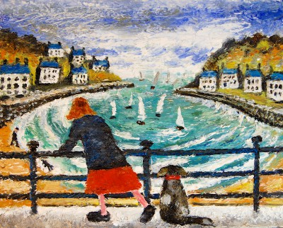 Paul ROBINSON - Lady and Dog Watching the Yachts