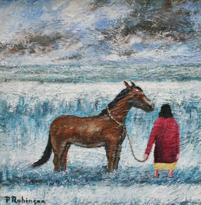 Lady with Horse Contemplating painting by artist Paul ROBINSON
