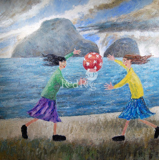 Paul ROBINSON - Two Ladies Playing Ball on the Beach