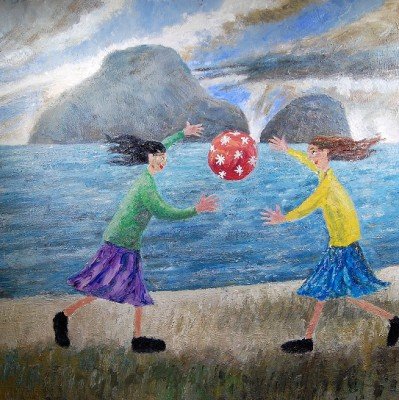 British Artist Paul ROBINSON - Two Ladies Playing Ball on the Beach