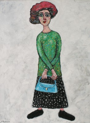 Paul ROBINSON - Lady with Blue Bag and Red Hat Waiting