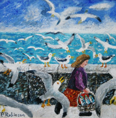 British Artist Paul ROBINSON - Woman with Basket of Fish