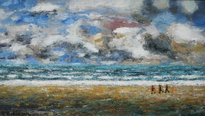 British Artist Paul ROBINSON - Three Figures on an Empty Beach