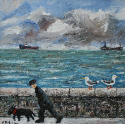 British Artist Paul ROBINSON - Man Walking with Dog and Two Seagulls