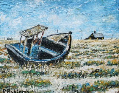 British Artist Paul ROBINSON - The Abandoned Boat, Dungeness