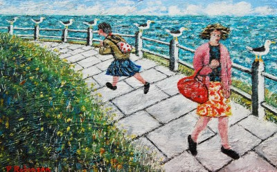 Two Ladies and Seagulls painting by artist Paul ROBINSON