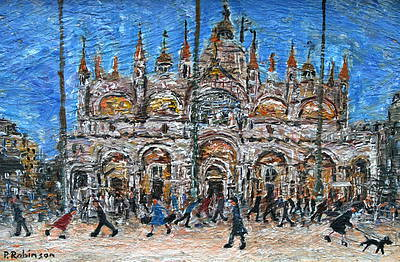Paul ROBINSON - Lady Walking Dog Across Piazza San Marco