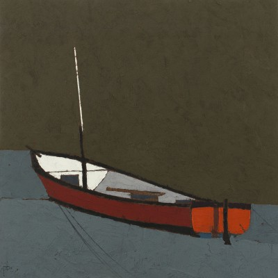 British Artist Peter BEESON - Orange Boat  - St Ives Harbour