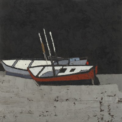 British Artist Peter BEESON - Three Boats - St Ives Harbour