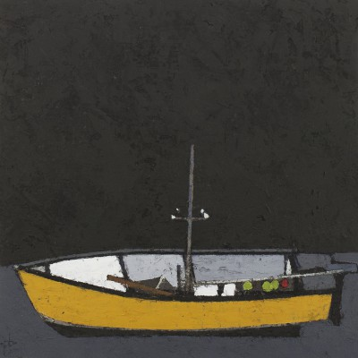 British Artist Peter BEESON - Yellow Boat - St Ives Harbour