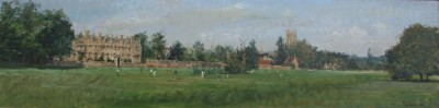 British Artist Peter BROWN - Cricket Practice Mereton Fields