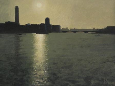British Artist Peter KELLY - Sunset on the Thames