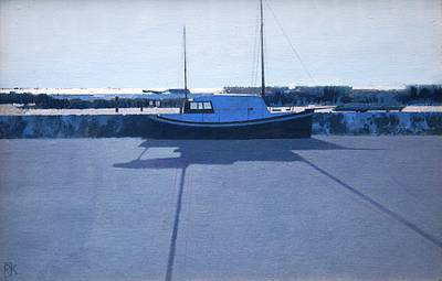 British Artist Peter KELLY - Snow, Heybridge Basin