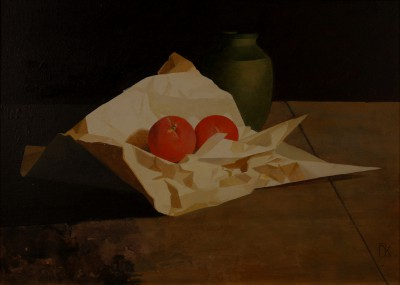 British Artist Peter KELLY - Red Fruit and Green Vase