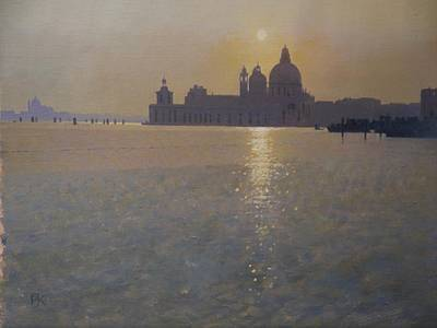 British Artist Peter KELLY - Sunset on the Lagoon, Venice
