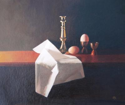 British Artist Peter KELLY - White Cloth and Brown Eggs