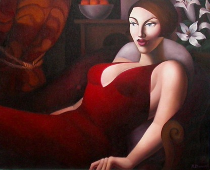 Rachel DEACON - Seated Woman in Red