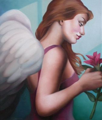 Rachel DEACON - Angel with a Pink Flower