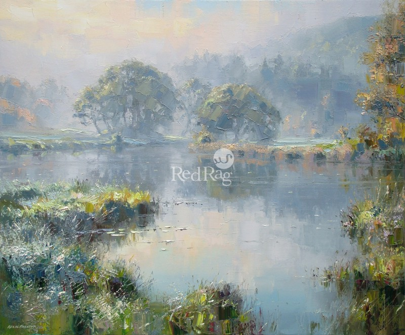 Rex PRESTON - Morning Light, River Brathay, near Elterwater