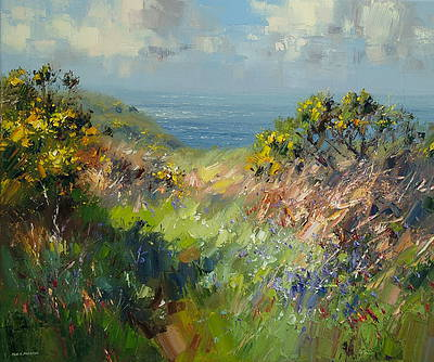 British Artist Rex PRESTON - Cornish Bluebells and Gorse