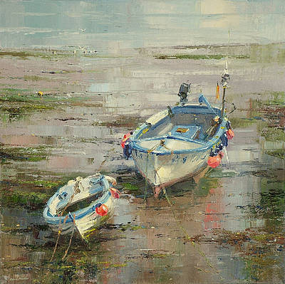 British Artist Rex PRESTON - Low Tide, Newlyn