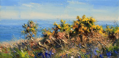 British Artist Rex PRESTON - Morning Light, Trevean Cliffs, Cornwall