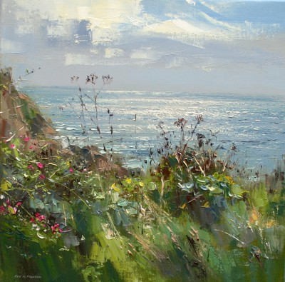 British Artist Rex PRESTON - Wild Roses and Seedheads, Porthgwarra, Cornwall