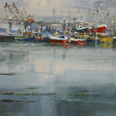 British Artist Rex PRESTON - Calm Water, Newlyn Harbour