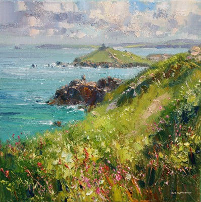 Rex PRESTON - Clifftop Flowers, near St Ives