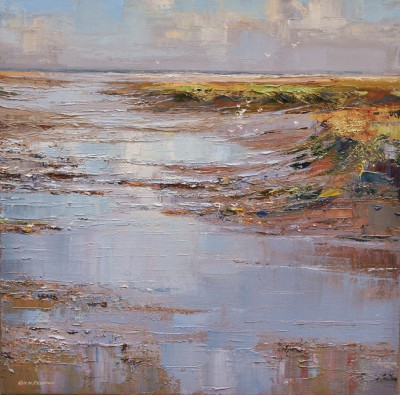 Blue Reflections, Thornham Creek, Norfolk painting by artist Rex PRESTON