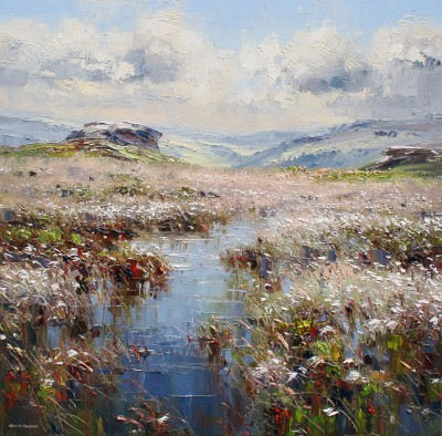 British Artist Rex PRESTON - Moorland Pool, Curbar Edge, Derbyshire