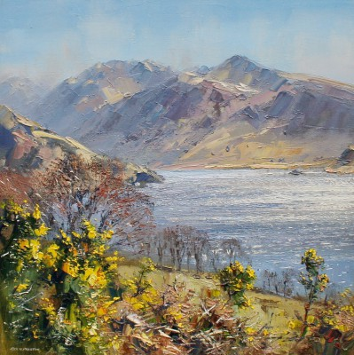 British Artist Rex PRESTON - Spring Sunlight, Crummock Water