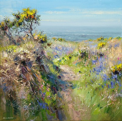 British Artist Rex PRESTON - Sunny Spring Day, Cornwall