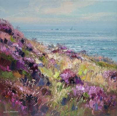 British Artist Rex PRESTON - Clifftop Heather, Longships Lighthouse