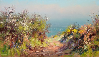 British Artist Rex PRESTON - Path to Portheras Cove, Cornwall