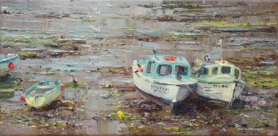 Dawn Mist and Miss Amy, Newlyn painting by artist Rex PRESTON