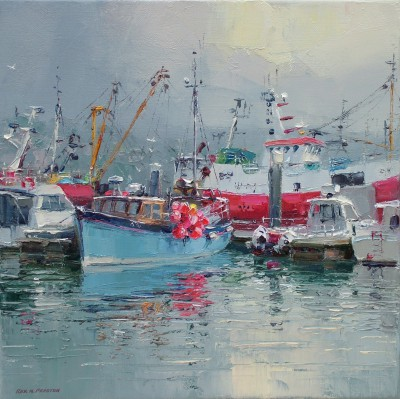 Rex PRESTON - Reflected Light, Newlyn Harbour