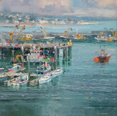 Newlyn Harbour painting by artist Rex PRESTON