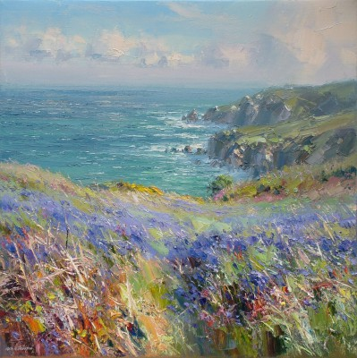 Bluebells near Treen Cove painting by artist Rex PRESTON