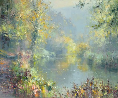 British Artist Rex PRESTON - Autumn Reflections, Miller's Dale