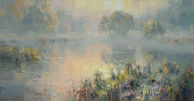 British Artist Rex PRESTON - Sunrise, River Brathay, near Elterwater