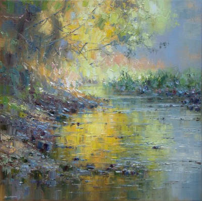 British Artist Rex PRESTON - Afternoon Sunlight, Tideswell Dale