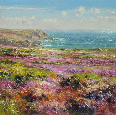 British Artist Rex PRESTON - Heather and Gorse, Porthgwarra