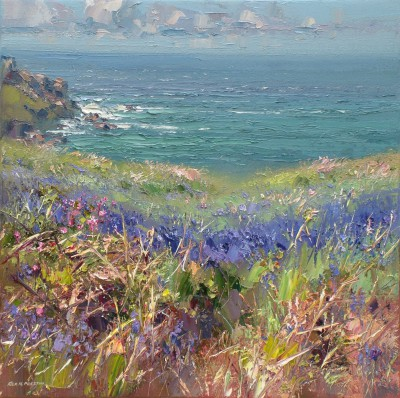 British Artist Rex PRESTON - Bluebells, Treen Cove, Cornwall