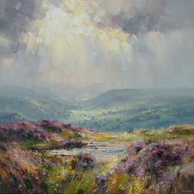 British Artist Rex PRESTON - Sunlight over Derwent Valley