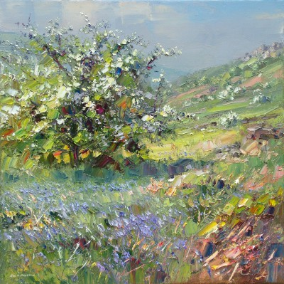 British Artist Rex PRESTON - Mayblossom and Bluebells, Curbar Edge, Derbyshire